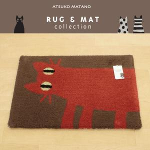 Atsuko-matanoマット  見つめる猫 レッド 45×70cm JB2385-95|uedakaya