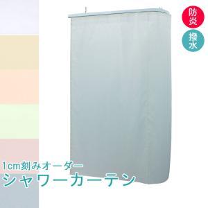 1cm刻み オーダー 防炎 水をはじく シャワーカーテン 巾〜269cm-丈〜239cmまで 帝人 可動式フック付き|uedakaya
