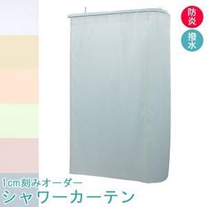 1cm刻み オーダー 防炎 水をはじく シャワーカーテン 巾〜179cm-丈〜199cmまで 帝人 可動式フック付き|uedakaya