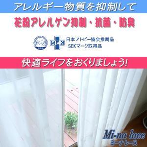 オーダー 花粉 対策 抗菌 防臭 ミーナ レース カーテン 幅〜100cm-丈243〜273cm 2枚組|uedakaya