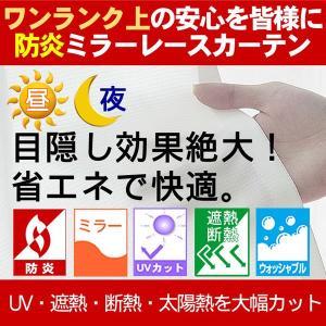 新・防炎・昼も夜も見えにくいミラーレースカーテン 既製サイズ 日本製|uedakaya