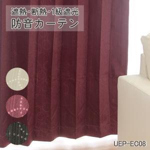 防音カーテン 遮熱 断熱 1級遮光 EC08 幅100cm−丈150〜200cm 2枚組 uedakaya