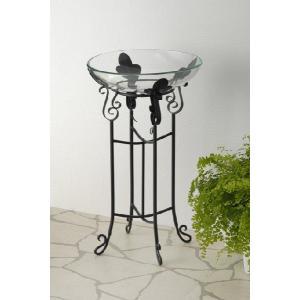 ガラスボールとアイアン製ハイスタンドが付いたお洒落な水鉢です。  メダカ、金魚、水草、浮き玉などにピ...