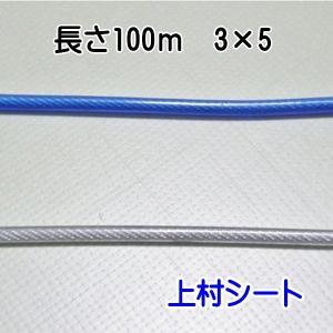 ビニール被覆ワイヤーロープ(外径5mm-内径3mm) 長さ200m (1巻)|uemura-sheet
