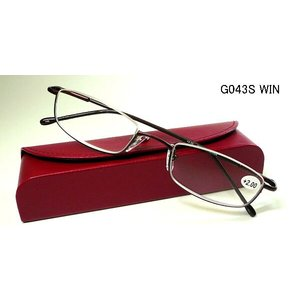 ブライトグラス G043-RE 老眼鏡 リーディンググラス シニアグラス 読書用 メガネ 男性用 女性用 メンズ レディース おしゃれ 逆ナイロール g043ブライトS g043s|uemuramegane