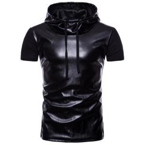 Tシャツ メンズ 半袖  トップス スタイル PU  革 カジュアル 夏 tシャツ 帽子付き 暗黒系...