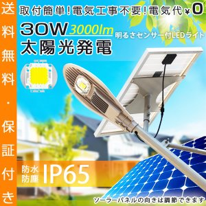 ソーラーLED外灯 30W 3000lm 電気代ゼロ 明るさセンサー 単管 ソーラーパネル 防水 屋外 太陽光発電 街路灯 ufo-japan