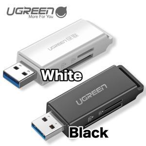 UGREEN USB3.0SDカードリーダー TF用ポータブルUSB 3.0 デュアルスロットフラッシュメモリカードアダプターハブ ブラック ホワイト CM104 NP|ugreen-oaplaza