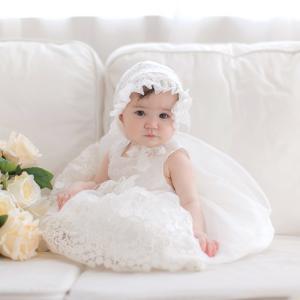 花柄刺繍 オーガンジー ベビードレス