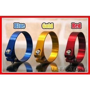 ★アルミホースクランプ★アルマイトカラー全3色(ブルー/ゴールド/レッド)/ 適合サイズ(59.8φ〜61.8φmm)|uj-factory