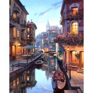【翌日発送】数字油絵 数字 塗り絵 ぬりえ デジタル油絵   河 運河 風景 ナンバーペイント