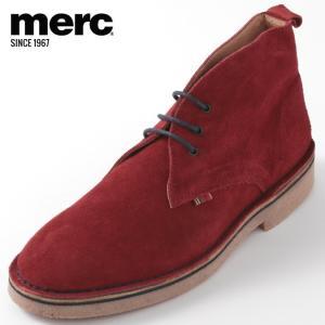 Merc London メルク シューズ 本革レザー 革靴 靴 本革 スエード ディープレッド Ha...