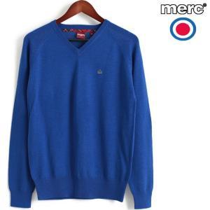 メルクロンドン Merc London セーター ウール Vネック ニットセーター ロイヤルブルー|ukclozest