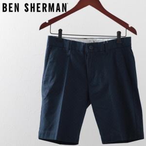 ベンシャーマン Ben Sherman ハーツパンツ 短パン  ポルカドット ネイビー メンズ|ukclozest
