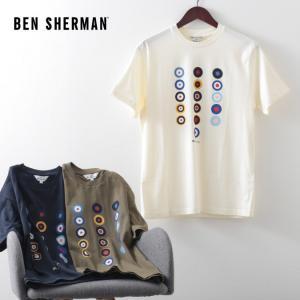 ベンシャーマン メンズ Tシャツ ターゲットマーク Ben Sherman 3色 アイボリー カーキ ミッドナイト レギュラーフィット|ukclozest