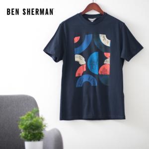 ベンシャーマン メンズ Tシャツ ターゲットマーク レコード Ben Sherman ダークネイビー レギュラーフィット|ukclozest