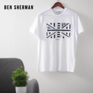 ベンシャーマン メンズ Tシャツ ユニオンジャック インフルエンス シェブロン Ben Sherman ホワイト レギュラーフィット|ukclozest