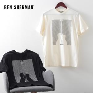 ベンシャーマン メンズ Tシャツ ギター ピンバー Ben Sherman 2色 スノーホワイト ブラック レギュラーフィット|ukclozest