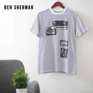 ベンシャーマン メンズ Tシャツ ストライプ スタジオ ミュージック オン Ben Sherman ホワイト レギュラーフィット|ukclozest