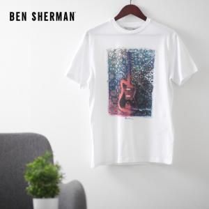 ベンシャーマン メンズ Tシャツ ギター ペイズリー Ben Sherman ホワイト 花柄 フラワー レギュラーフィット|ukclozest