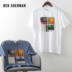 ベンシャーマン メンズ Tシャツ カセット インレイ Ben Sherman 2色 ライトインディゴ ホワイト レギュラーフィット|ukclozest