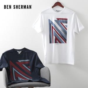 ベンシャーマン メンズ Tシャツ ユニオンジャック スティップル フラッグ Ben Sherman 2色 ダークネイビー ホワイト レギュラーフィット|ukclozest