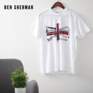 ベンシャーマン メンズ Tシャツ ユニオンジャック ミュージックテープ Ben Sherman ホワイト ターゲット レギュラーフィット|ukclozest
