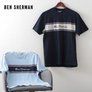 ベンシャーマン メンズ Tシャツ ストライプロゴ チェスト Ben Sherman 2色 スカイ ダークネイビー レギュラーフィット|ukclozest