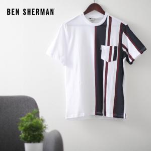 ベンシャーマン メンズ Tシャツ ストライプ バーティカル 20SS 新作 Ben Sherman ホワイト レギュラーフィット|ukclozest