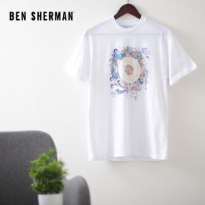 ベンシャーマン メンズ Tシャツ ターゲットマーク フラワー Ben Sherman ホワイト レギュラーフィット|ukclozest