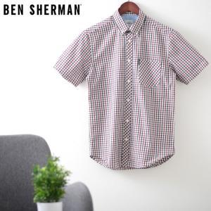ベンシャーマン メンズ 半袖シャツ ハウスチェック シグネチャー Ben Sherman レッド レギュラーフィット|ukclozest