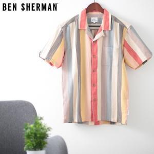 ベンシャーマン メンズ 半袖シャツ ストライプ リバース シャンブレー Ben Sherman レッド リラックスフィット|ukclozest