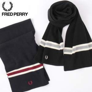 フレッドペリー Fred Perry マフラー メリノウール リブ スカーフ 2色 150×23cm ネイビー ブラック|ukclozest