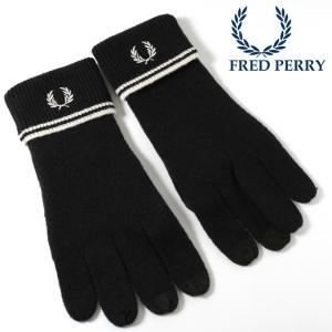 フレッドペリー 正規販売店 Fred Perry 手袋 グローブ スマホ対応 ウール ブラック|ukclozest