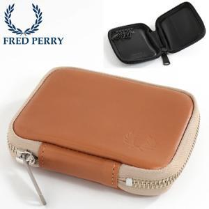 フレッドペリー 正規販売店 Fred Perry キーケース レザー アラウンドジップ 本革レザー 牛革 キャメル ブラック|ukclozest