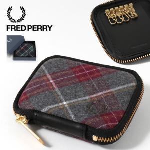 フレッドペリー Fred Perry キーケース ジップラウンド ハウス タータン チャコール タータン 本革 キーホルダー 2色|ukclozest