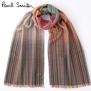PAUL SMITH ポールスミス メンズ マフラー スカーフ シルク ウール 大判 マルチストライプ 英国製 Made in England|ukclozest
