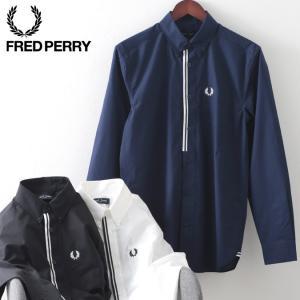 フレッドペリー メンズ 長袖シャツ Fred Perry テープ プラケット 3色 ブラック スノーホワイト カーボンブルー ビジネス プレッピー ukclozest