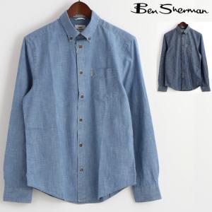 ベンシャーマン Ben Sherman 長袖シャツ シャンブレー 2色 メンズ ウォッシュドブルー ネイビーブレザー|ukclozest