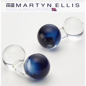 Martyn Ellis カフスボタン カフス カフリンクス 男性用 マーティン エリス ガラス 英国カフスボタン ミッドナイトブルー|ukclozest