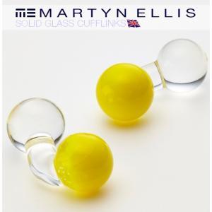 Martyn Ellis カフスボタン カフス カフリンクス 男性用 マーティン エリス ガラス 英国カフスボタン イエロー|ukclozest