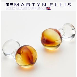 Martyn Ellis カフス カフスボタン カフリンクス 男性用 マーティン エリス ガラス アンバー|ukclozest