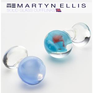 Martyn Ellis カフス カフスボタン カフリンクス 男性用 マーティン エリス ガラス コーンフラワー|ukclozest