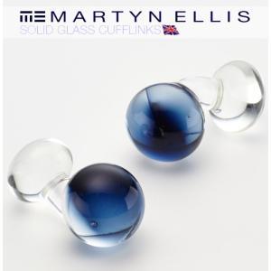 Martyn Ellis カフス カフスボタン カフリンクス 男性用 マーティン エリス ガラス ミッドナイト|ukclozest
