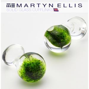 Martyn Ellis カフス カフスボタン カフリンクス 男性用 マーティン エリス ガラス スターグリーン|ukclozest