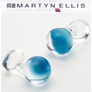 Martyn Ellis カフス カフスボタン カフリンクス 男性用 マーティン エリス ガラス スティールブルー|ukclozest