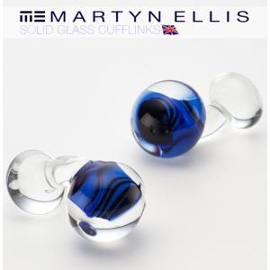 Martyn Ellis カフス カフスボタン カフリンクス 男性用 マーティン エリス コバルトブラック ガラス|ukclozest