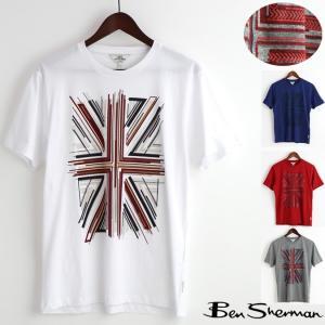 ベンシャーマン Ben Sherman Tシャツ ユニオンジャック グラフィック エンボス 4色 ホワイト インディゴ グレー レッド|ukclozest