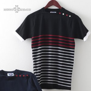 Madcap England メンズ ポロシャツ ポロ ニット マッドキャップ レトロ ボーダー 2色 ブラック ネイビー モッズファッション|ukclozest