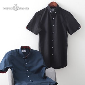 Madcap England メンズ 半袖シャツ マッドキャップ ペニーカラー 2色 ネイビー ブラック レトロ モッズ|ukclozest